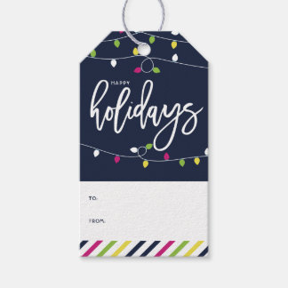 Bright and Colorful Christmas Lights Holiday II Gift Tags
