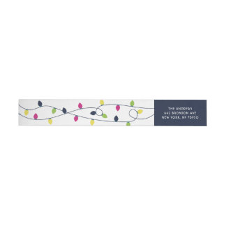 Bright and Colorful Christmas Lights Holiday Label