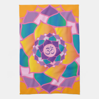 Bright and Colorful Crown Chakra Elegant Yoga Kitchen Towel