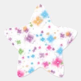 Bright and Colorful Floral Confetti Cake Design Star Sticker