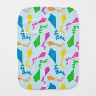 Bright and Colorful Flying Kites Pattern Baby Burp Cloth