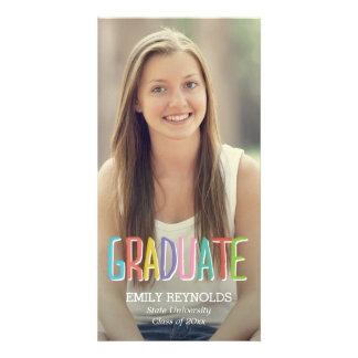 Bright and Colorful Graduation Announcement Customized Photo Card