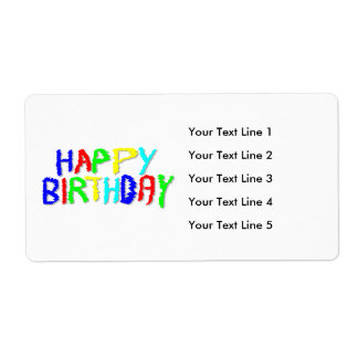 Bright and Colorful. Happy Birthday. Shipping Label