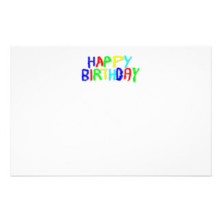 Bright and Colorful. Happy Birthday. Stationery Paper