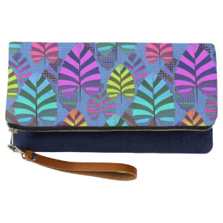Bright and Colorful Leaf Pattern 767 Clutch
