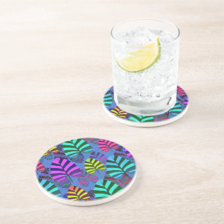 Bright and Colorful Leaf Pattern 767 Coaster