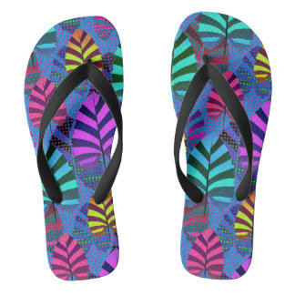 Bright and Colorful Leaf Pattern 767 Flip Flops