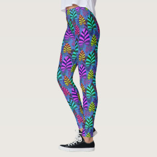 Bright and Colorful Leaf Pattern 767 Leggings