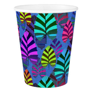 Bright and Colorful Leaf Pattern 767 Paper Cup