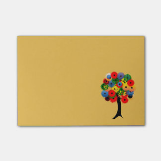 Bright and Colorful Mechanical Gear Tree Post-it Notes