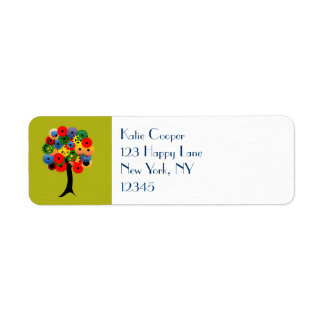 Bright and Colorful Mechanical Gear Tree Return Address Label