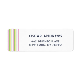 Bright and Colorful Pinstripes Pattern Return Address Label