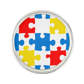 Bright and Colorful Puzzle Pieces Pattern Lapel Pin