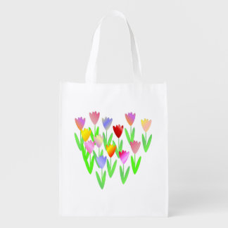 Bright and Colorful Tulips Reusable Grocery Bag