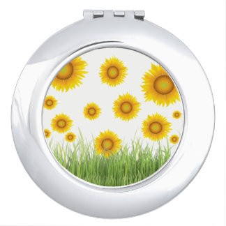 Bright and Elegant Sunflower Graphic Design Mirror For Makeup