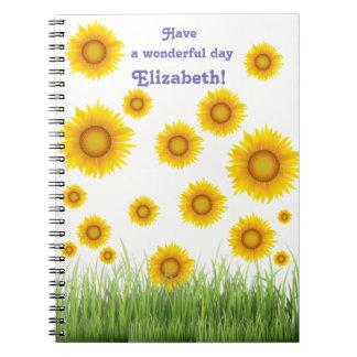 Bright and Elegant Sunflower Graphic Design Notebooks