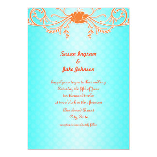 Bright and Fun Aqua and Tangerine Wedding Invites