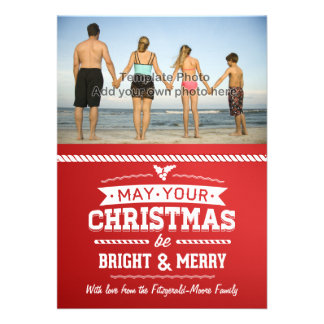 Bright and Merry Photo Red Christmas Greeting Cards