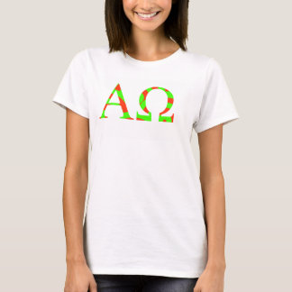 Bright and Red and Green Apha and Omega tee