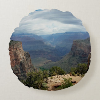Bright Angel Trail Grand Canyon overlook Round Pillow