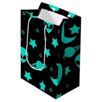 Bright Aqua Blue Alien Heads in Outer Space Medium Gift Bag