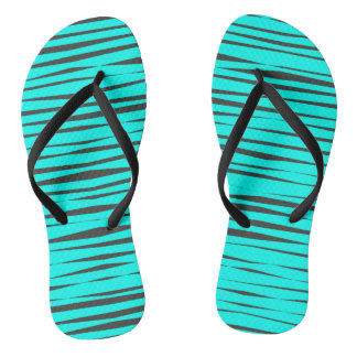 Bright Aqua Blue Animal Style Pattern Flip Flops