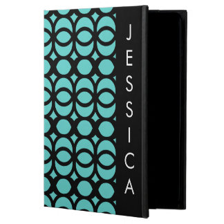 Bright Aqua Blue Circle Geometric Pattern Cover For iPad Air