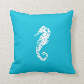 Bright Aqua Blue Seahorse Square Couch Pillow