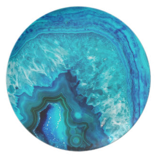 Bright Aqua Blue Turquoise Geode Mineral Stone Plate