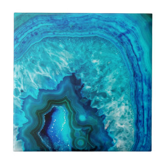Bright Aqua Blue Turquoise Geode Mineral Stone Tile