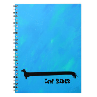 Bright aqua Low Rider Dachshund Notebook