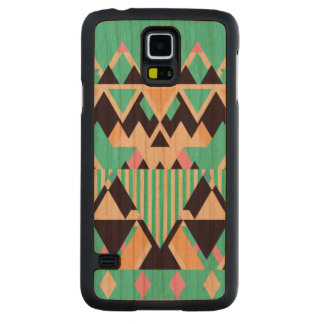 Bright Aqua Native Pattern Carved Cherry Galaxy S5 Case