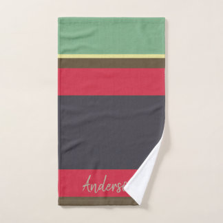 BRIGHT AQUA RED NAVY VINTAGE STRIPS PERSONALISED HAND TOWEL
