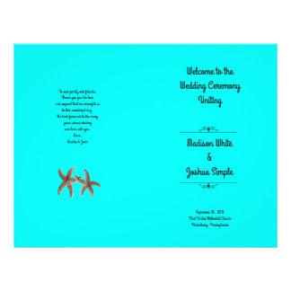 Bright Aqua Starfish Couple Wedding Programs Flyer Design