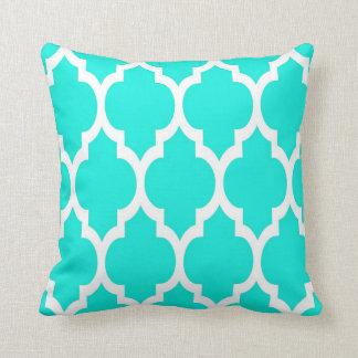 Bright Aqua White Moroccan Quatrefoil Pattern #4 Throw Pillow