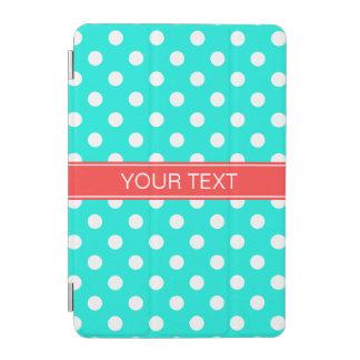 Bright Aqua White Polka Dots #2 Coral Red Monogram iPad Mini Cover