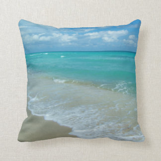 Bright Aqua White Waves Crashing on Beach Shore Throw Pillow
