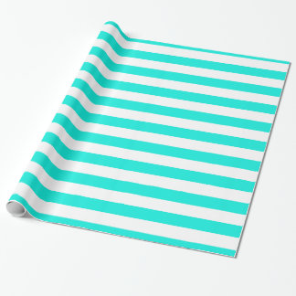 Bright Aqua White XL Stripes Pattern