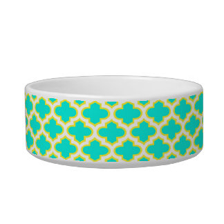 Bright Aqua, Yellow, White Quatrefoil Pattern #3 Bowl