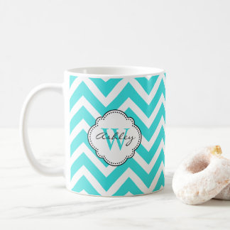 Bright Aquamarine Chevron Stripes with Monogram Coffee Mug