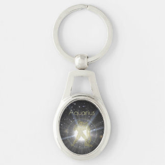 Bright Aquarius Silver-Colored Oval Keychain