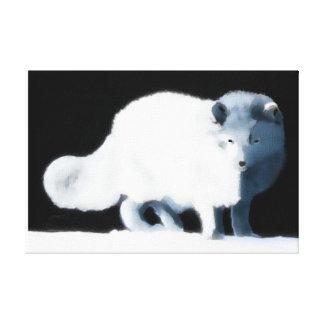 Bright Arctic Fox Stretched Canvas Print