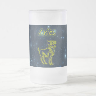 Bright Aries Frosted Glass Beer Mug