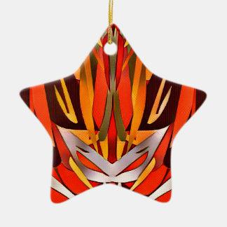Bright Artistic Flaming Sword Abstract Ceramic Ornament
