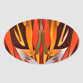 Bright Artistic Flaming Sword Abstract Oval Sticker