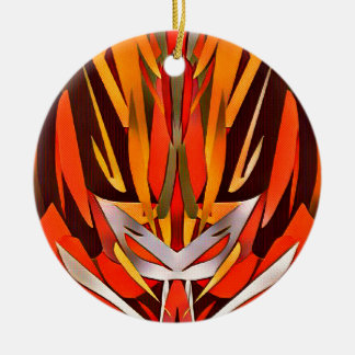 Bright Artistic Flaming Sword Abstract Round Ceramic Ornament