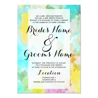 Bright artistic teal watercolor colorful wedding card