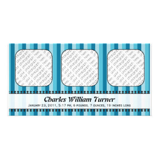 Bright Awnings Blue Birth Announcement Photo Card