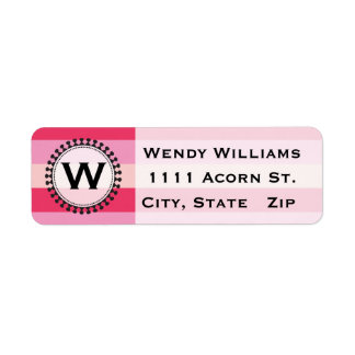 Bright Awnings Pink Monogram Address Labels