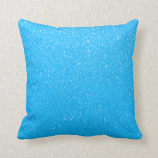 Bright Baby Blue Glittery Print Throw Pillow